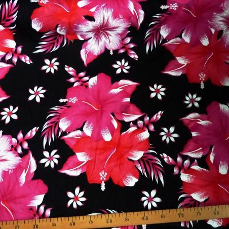 Tissu noir fleurs roses kahama