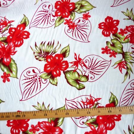 Tissu fleuri fond blanc fleurs rougeBouquet