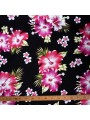 Tissu noir fleurs roses Rangiroa
