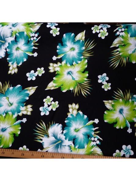 Tissu noir fleurs vert Rangiroa