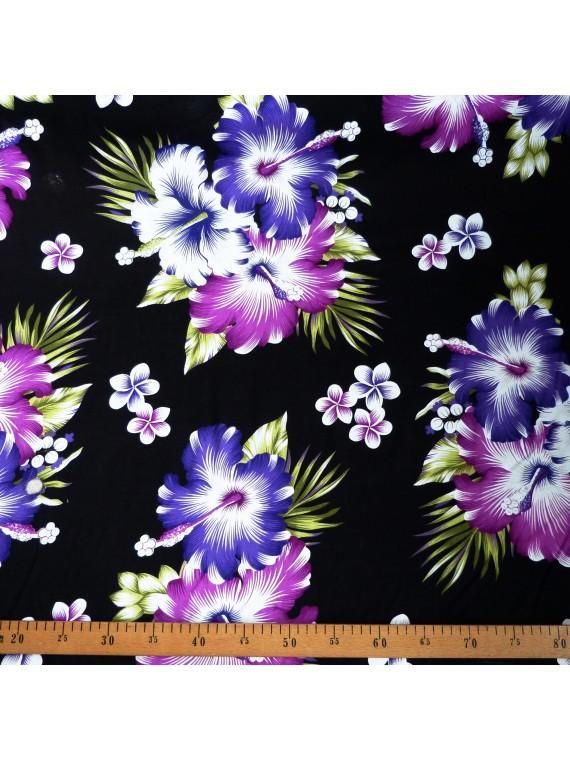 Tissu noir fleurs violet Rangiroa