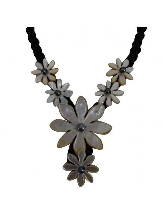 collier en nacre 6 tiarés perles d'eau douce