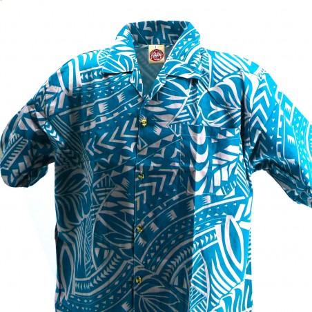 Chemise hawaïenne verte Tatouage Rahi