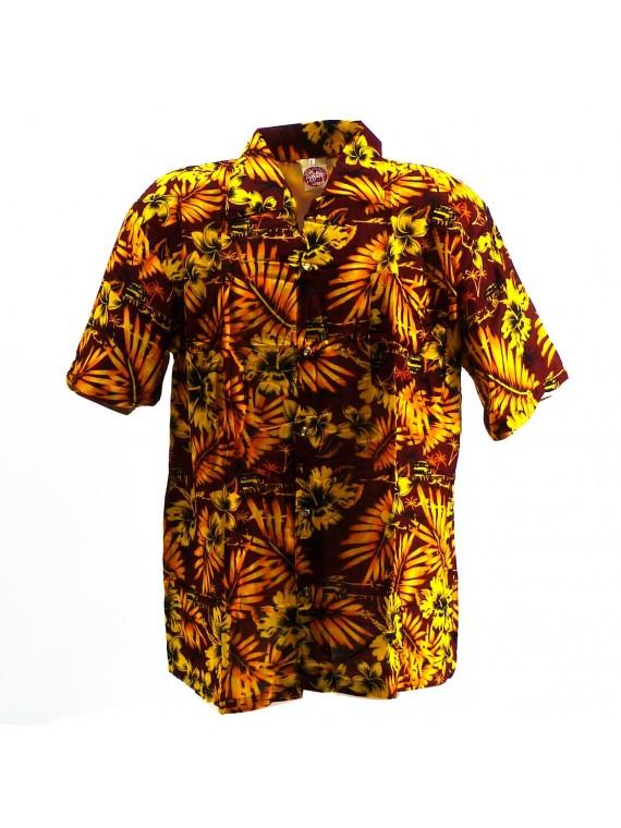Chemise Hawaïenne marron jaune Moho