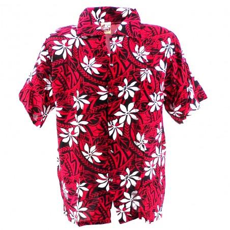 Chemise Hawaïenne rouge tiaré tatouage