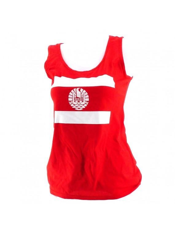 Débardeur rouge femme drapeau Polynesien