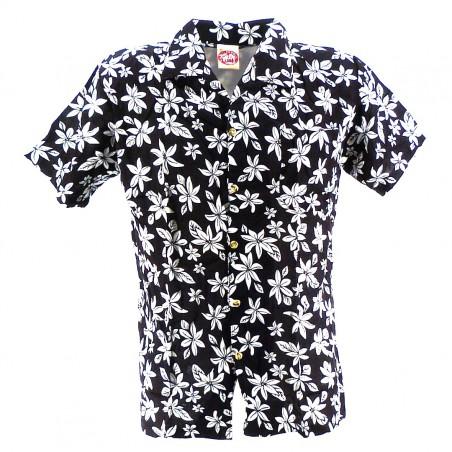 Chemise Hawaïenne noir tiaré