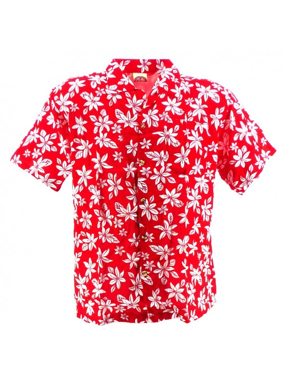 Chemise Hawaïenne rouge tiaré