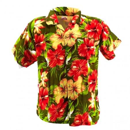 Chemise Hawaïenne verte Maupiti