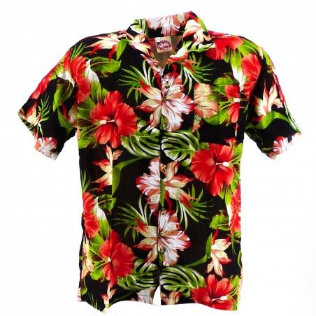 Chemise Hawaïenne noir Maupiti