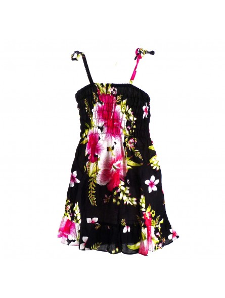 robe enfant noir hibiscus rose