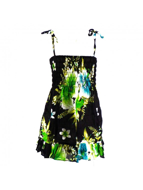 robe enfant noir hibiscus vert