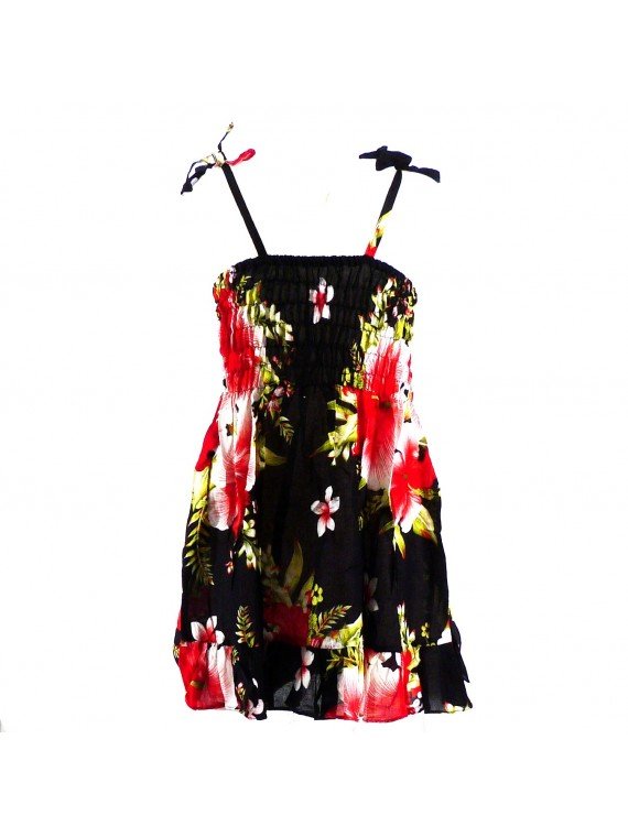 robe enfant noir hibiscus rouge