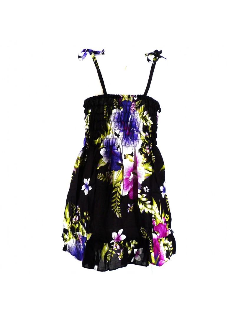 robe enfant noir hibiscus violet