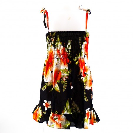 robe enfant noir hibiscus orange