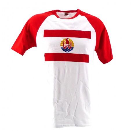 T-shirt rouge et blanc drapeau polynesien