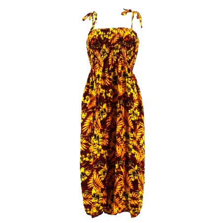 Robe femme moho marron jaune