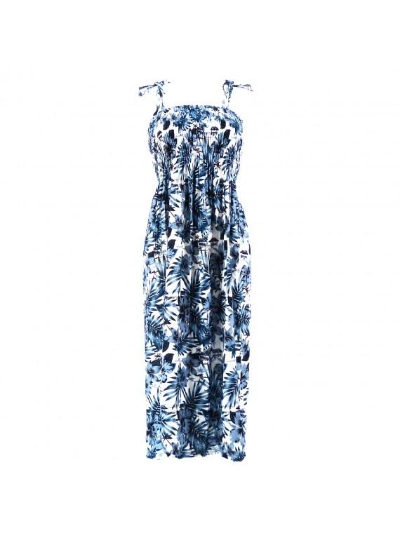 Robe femme moho blanc bleu