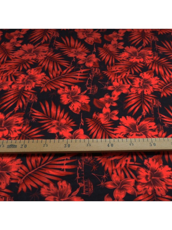 Tissu Tahitien rouge et noir Moho
