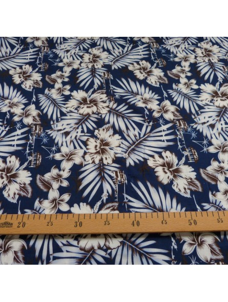 Tissu Tahitien bleu marine Moho