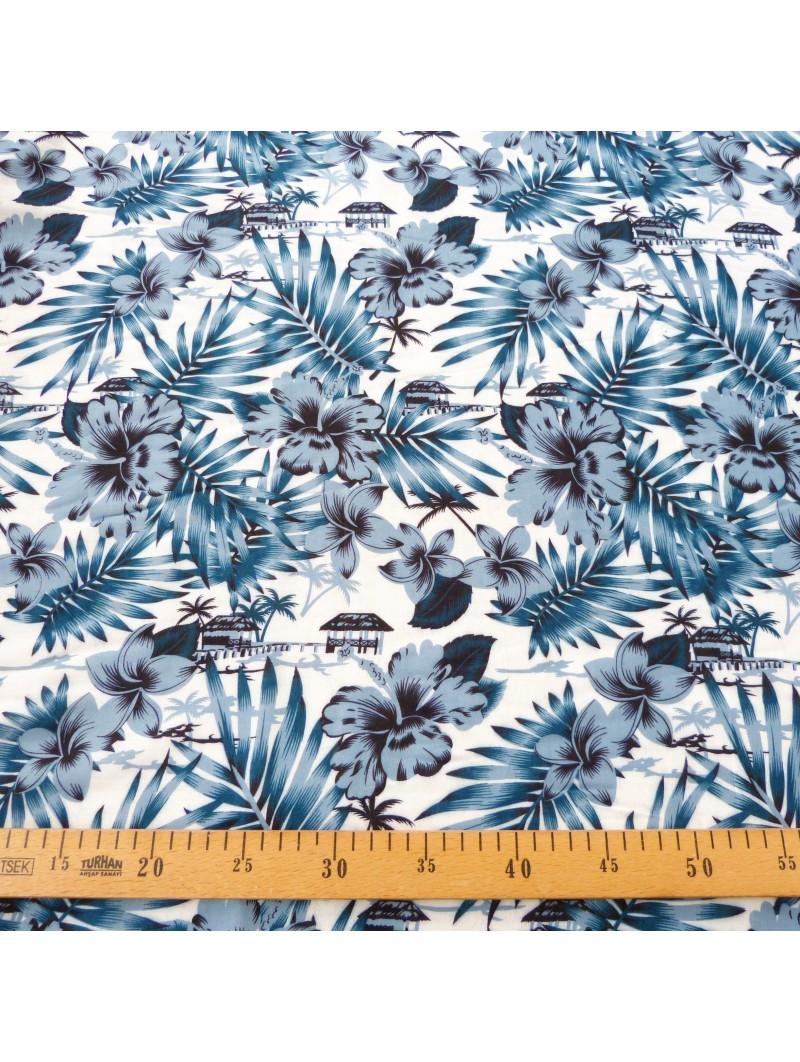 Tissu Tahitien blanc anthracite Moho
