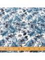 Tissu petites fleurs bleu canopée