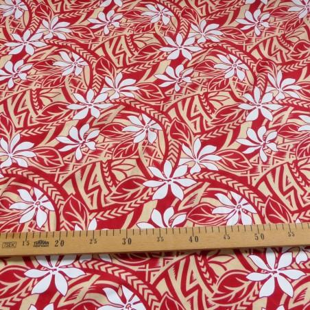 Tissu Tahitien rouge et crème tiaré tatouage