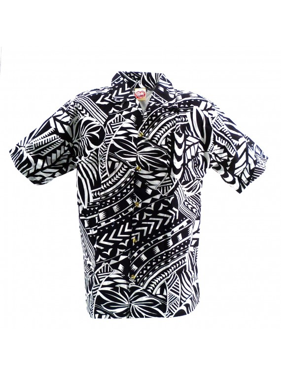 Chemise hawaïenne blanche et noir Tatouage Rahi