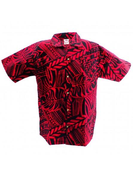 Chemise hawaïenne  rouge et noir Tatouage Rahi