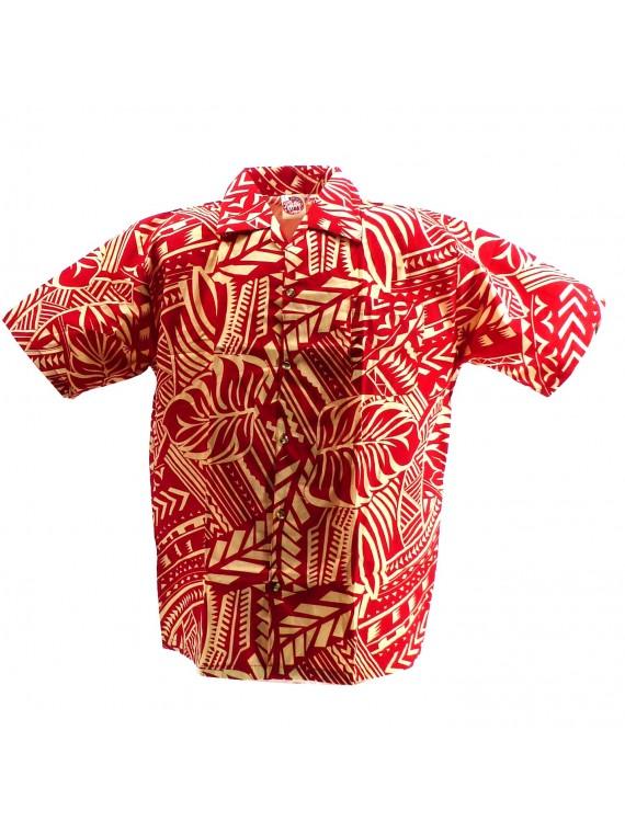 Chemise hawaïenne rouge et crème Tatouage Rahi