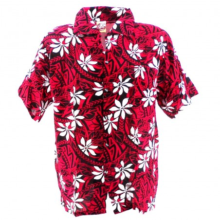 Chemise Hawaïenne enfant rouge tiaré tatouage