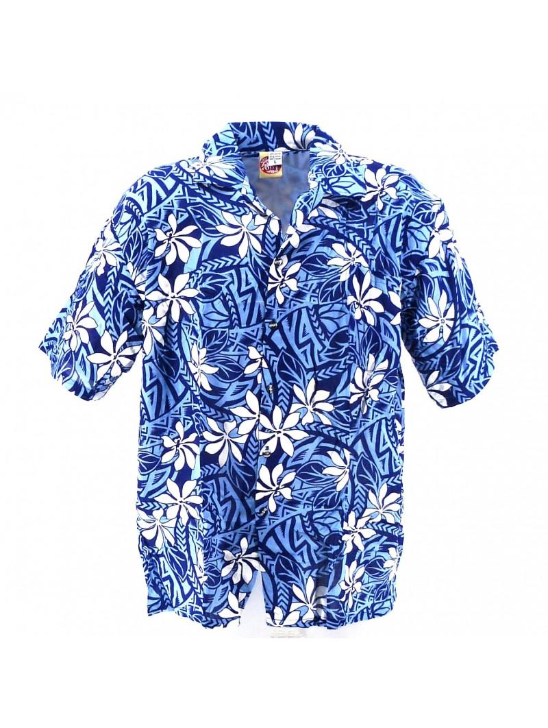 Chemise Hawaïenne bleu tiaré tatouage