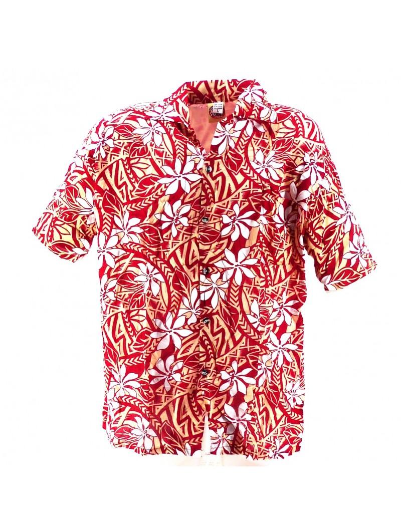 Chemise Hawaïenne rouge et crème tiaré tatouage