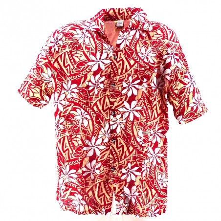 Chemise Hawaïenne enfant rouge et crème tiaré tatouage