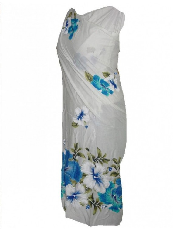 Paréo blanc frise gros hibiscus  bleu