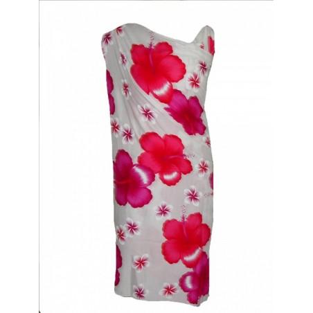 Paréos fond blanc hibiscus frangipane Rose