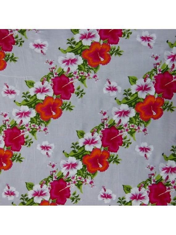 Tissu blanc Hawaïen frise hibiscus