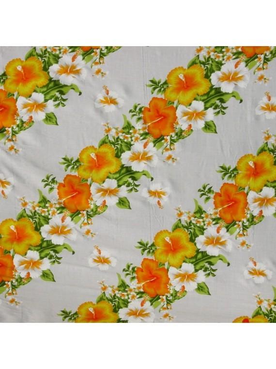 Tissu Hawaïen blanc frise fleurie