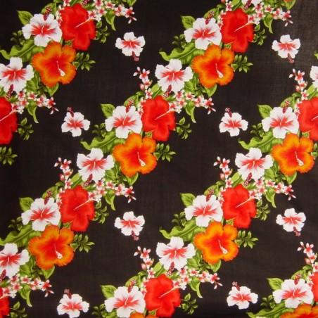 Tissu noir frise Hibiscus diagonale fleurie