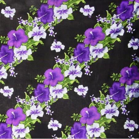 Tissu noir frise hibiscus fleurie