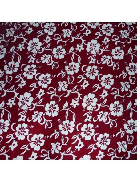 Tissu hibiscus Bordeaux  Classique