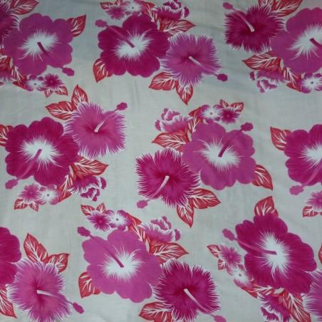 Tissu Tahitien Blanc Hibiscus kekona