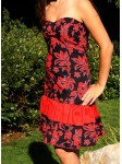 Tissu Tahitien Hibiscus Noir et Rouge