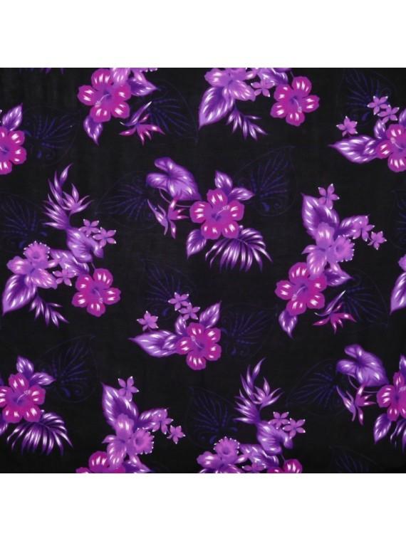 Tissu Noir à fleurs bouquet