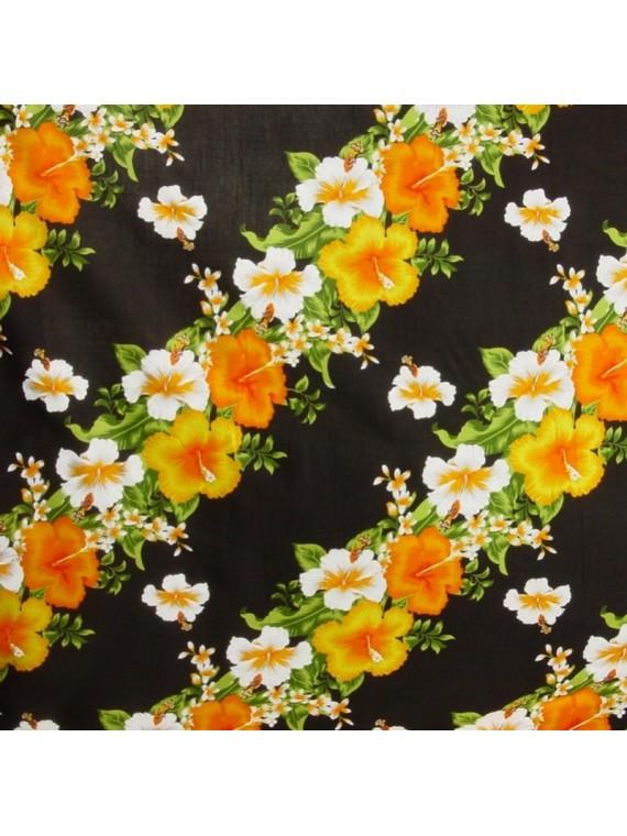 Tissu fond noir frise fleurie
