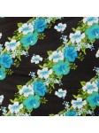 Tissu fond noir frise fleurie turquoise