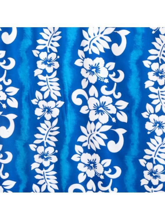 Tissu turquoise viscose hibiscus line
