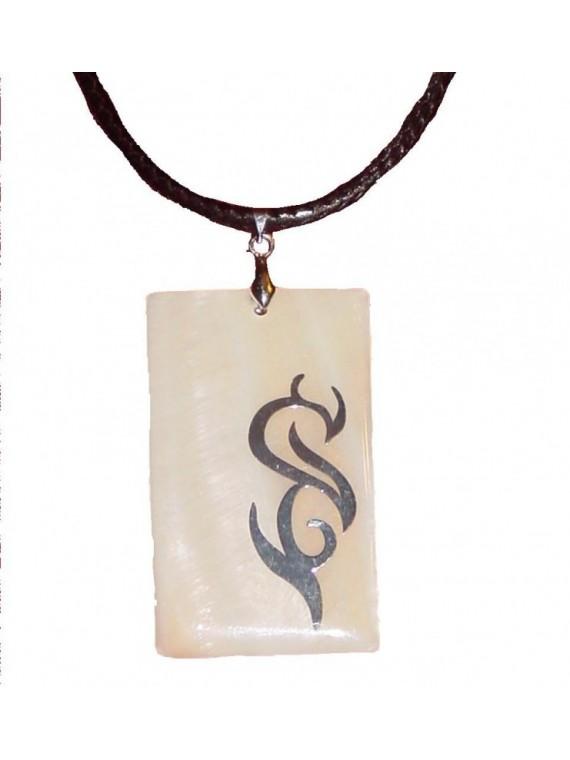 Collier/pendentif nacre et feuille d'argent tattoo