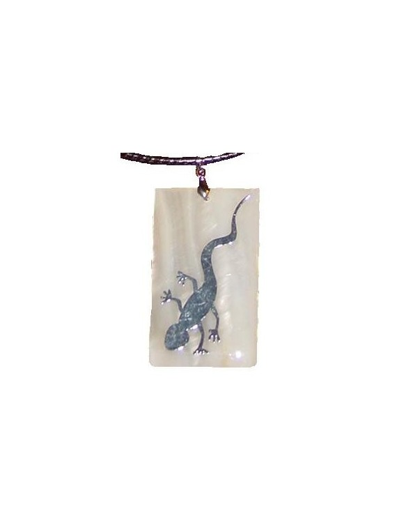 Collier/pendentif homme nacre et feuille d'argent gecko