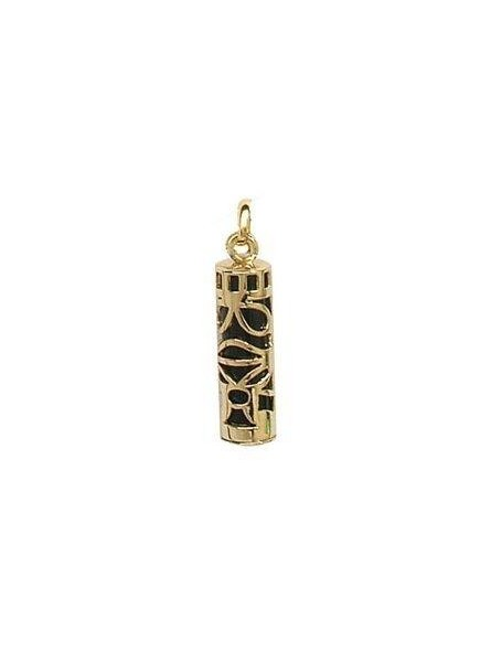 Grand pendentif tiki noir plaqué or